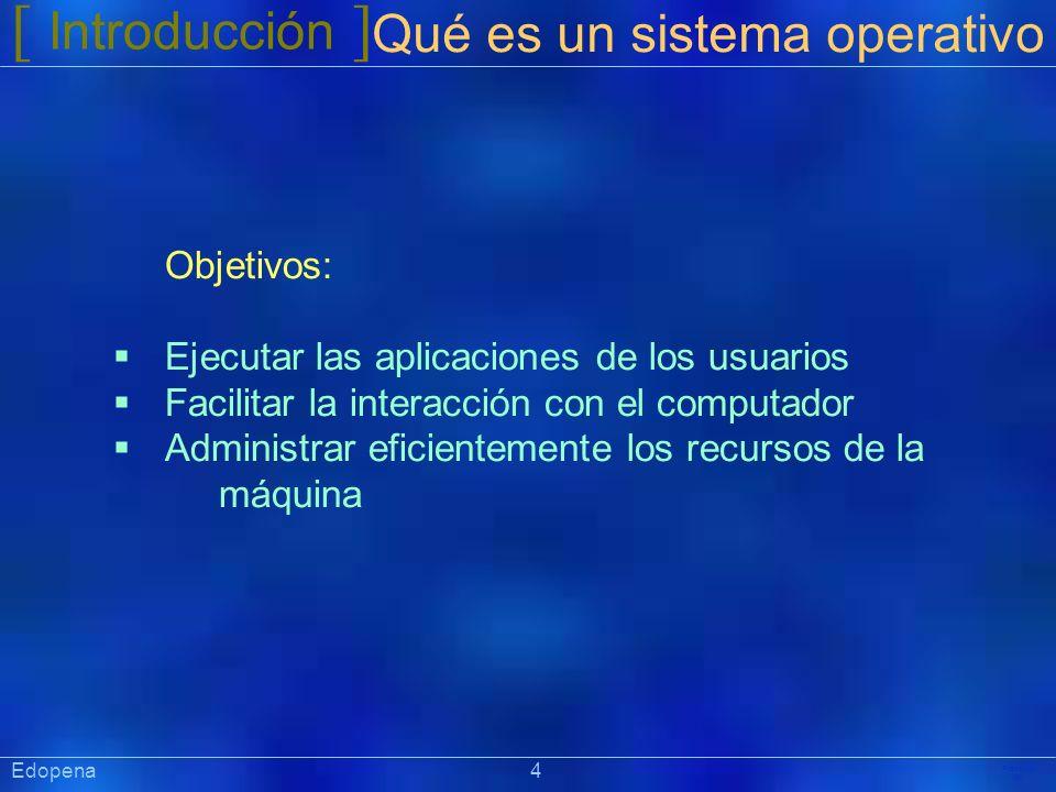 [ Introducción ] Qué es un sistema operativo Objetivos: